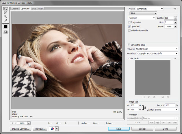 Speed up your sites load time by saving images for the web in Photoshop